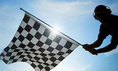 Flagman with checker flag
